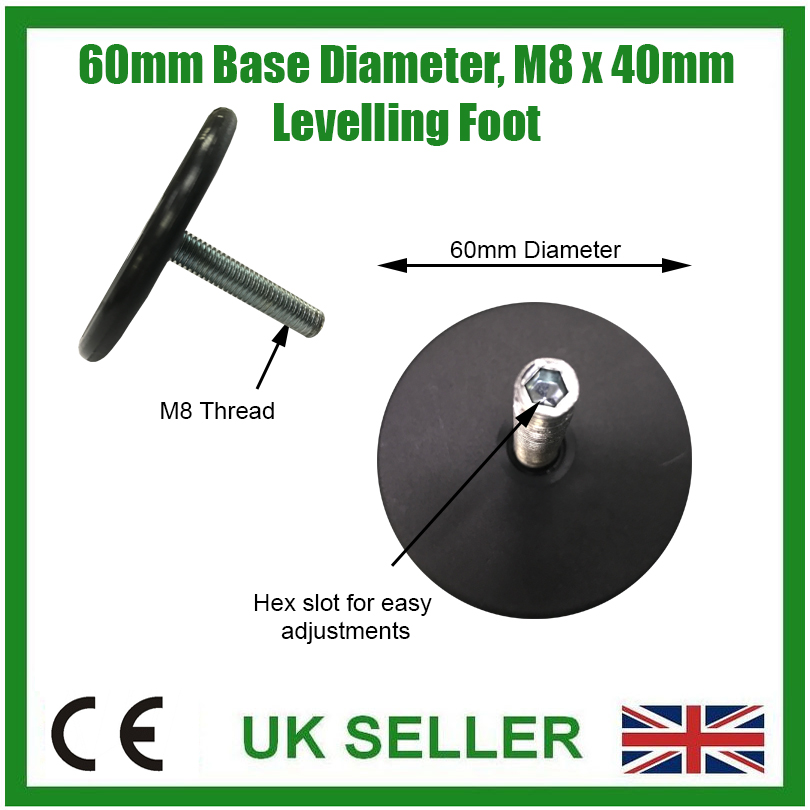 1x 42mm Diameter M8 x 50mm Adjustable Surface Mountable Levelling Feet Foot