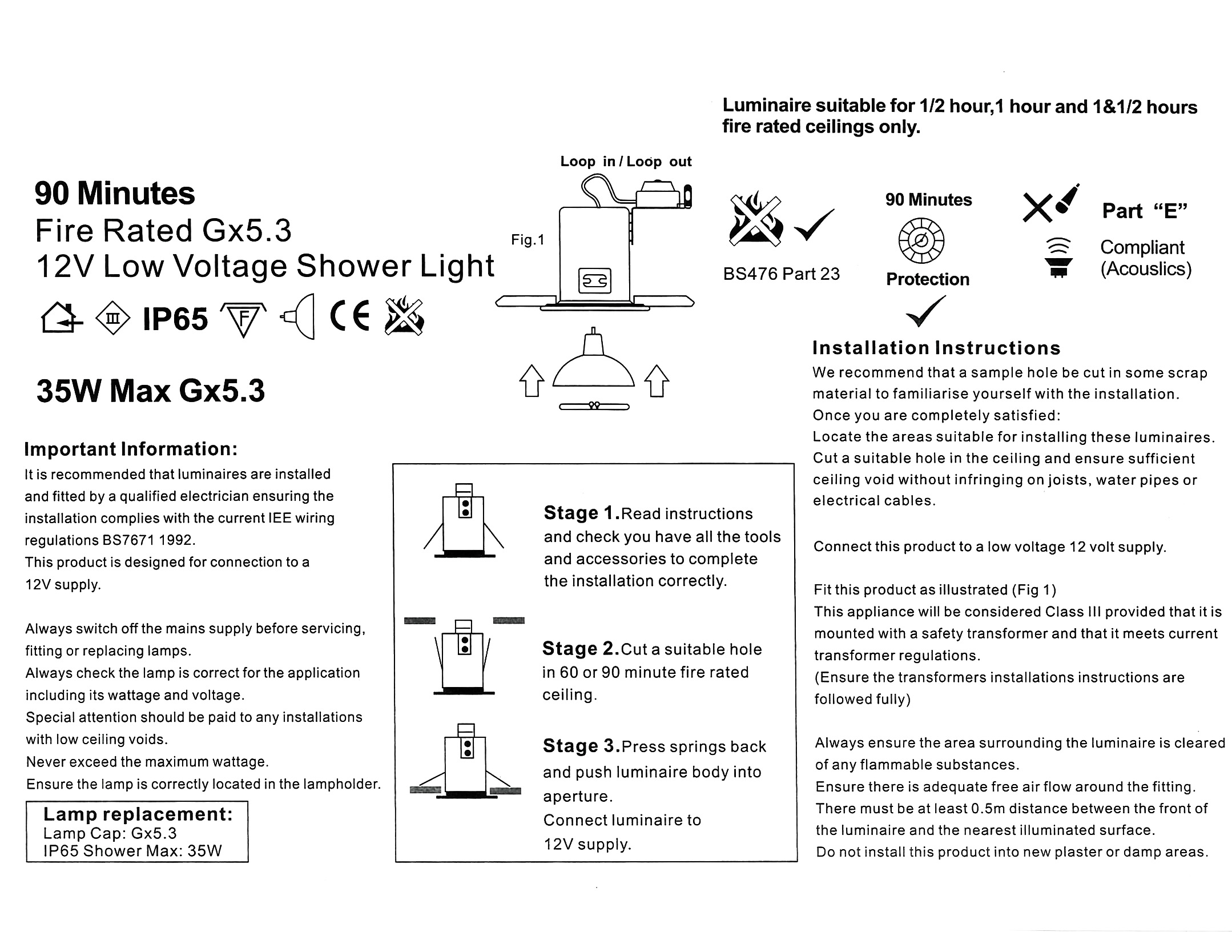 Ip65 Fire Rated Led 12v Mr16 Gx53 Brass Shower Ceiling Spot Down Wiring A Switch Clicking The Below Images Will Open Them In Larger Size