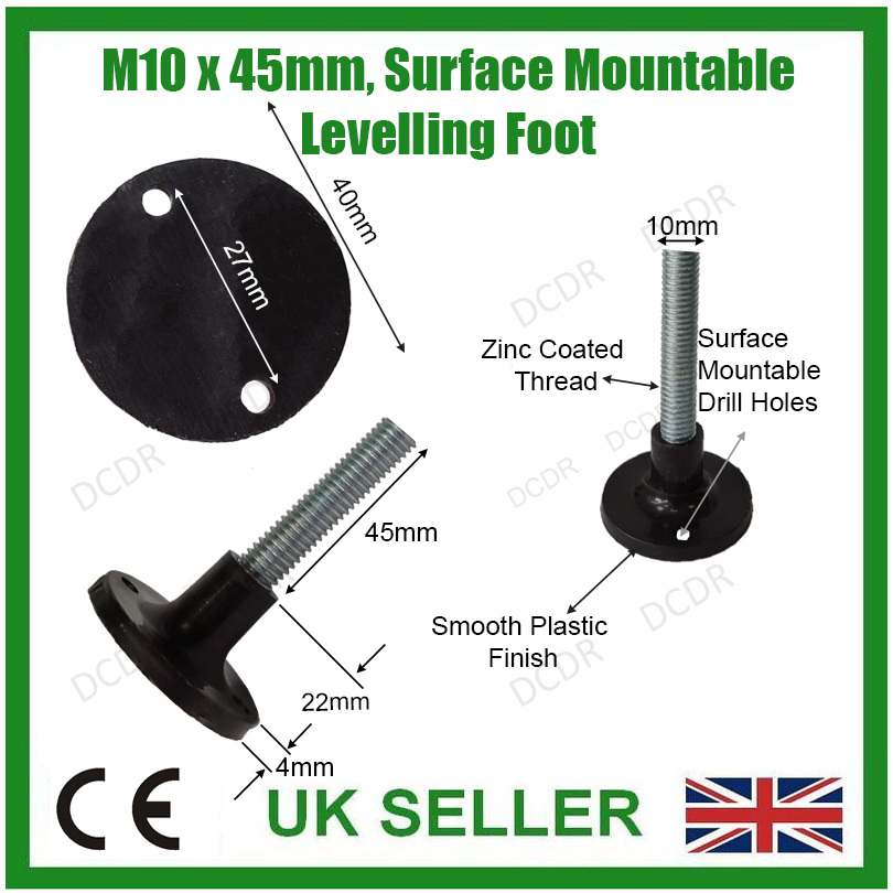 50x 45mm x 40mm M10 Thread Surface Mountable Adjustable Levelling Feet Foot Desk